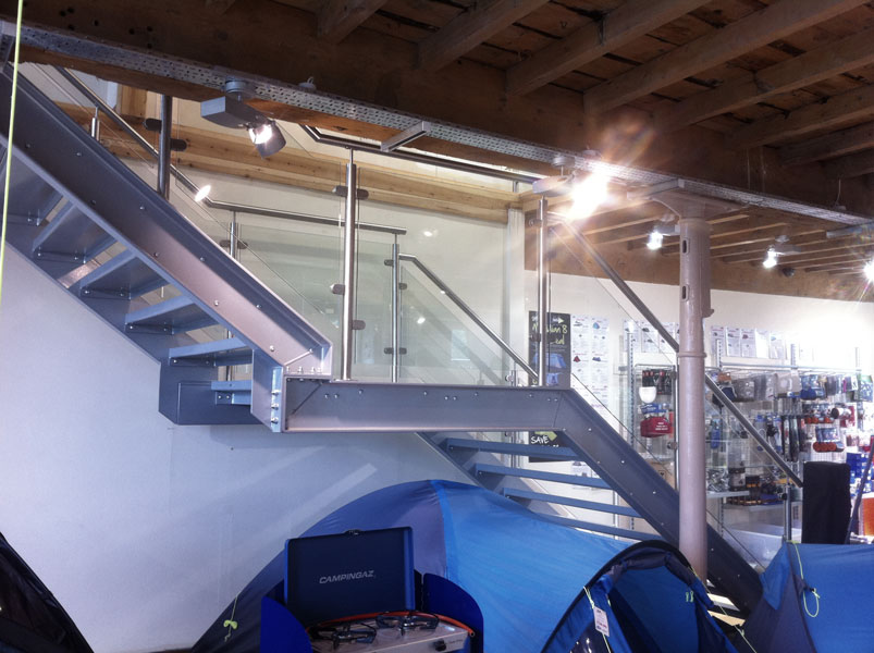 Steel staircase, retail staicase