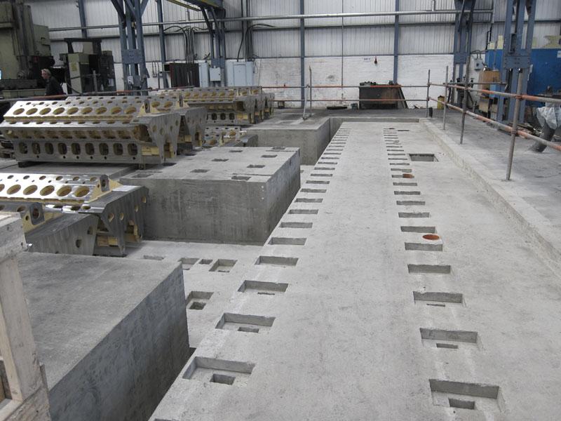 Machine base, concrete, rebar, timber formwork