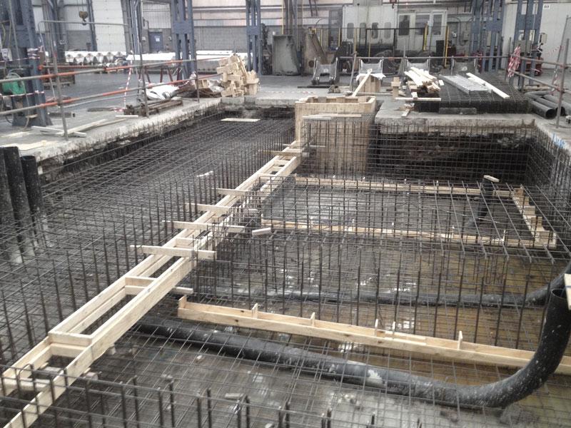 Machine base, concrete, rebar